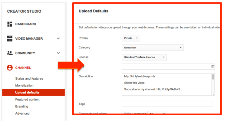 Upload defaults