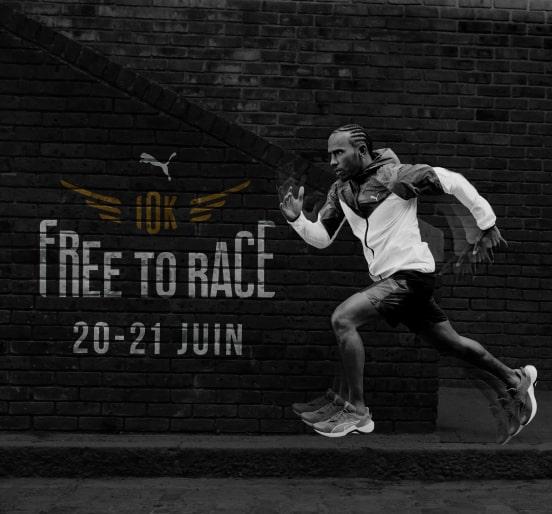 visuel de la course 10k free to race avec un homme courant dans la rue