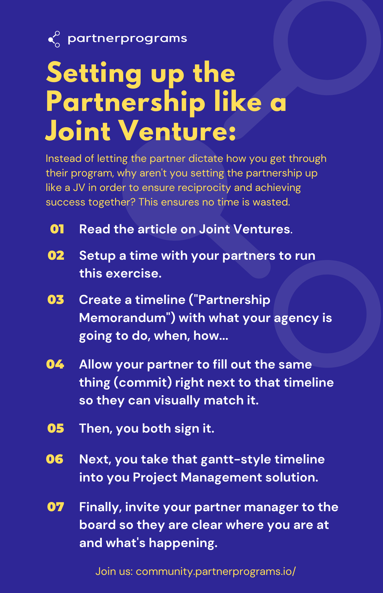 Setting up the Partnership like a Joint Venture (in 7 steps)