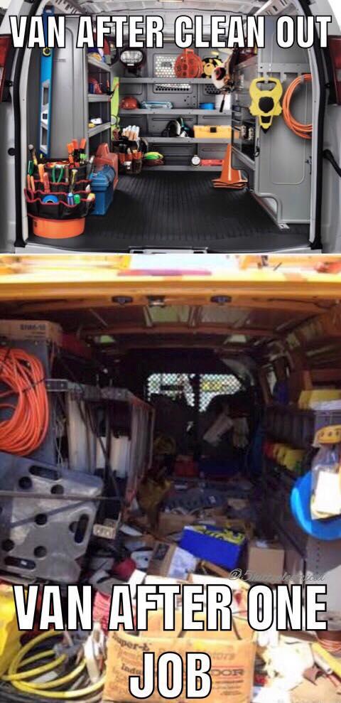 Electrician Meme: Van after clean out vs one job