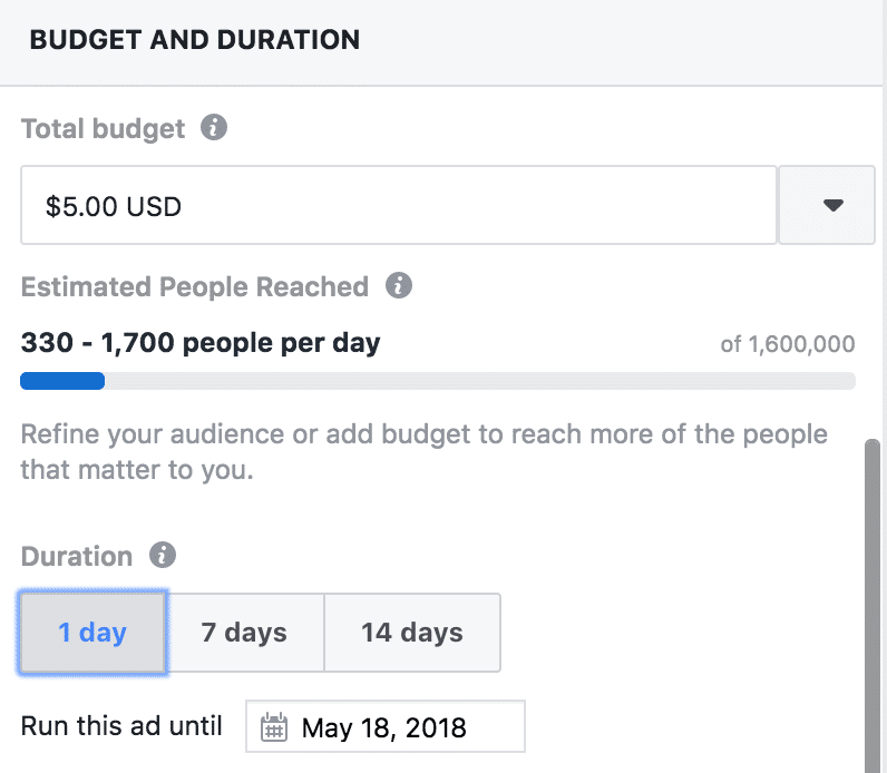 Set Budget and Duration