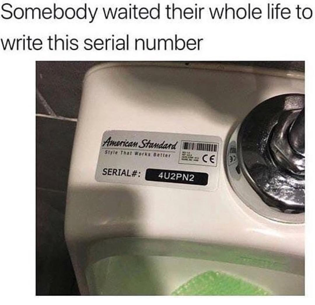 Plumbing Meme: Somebody waited their whole life to write this serial number