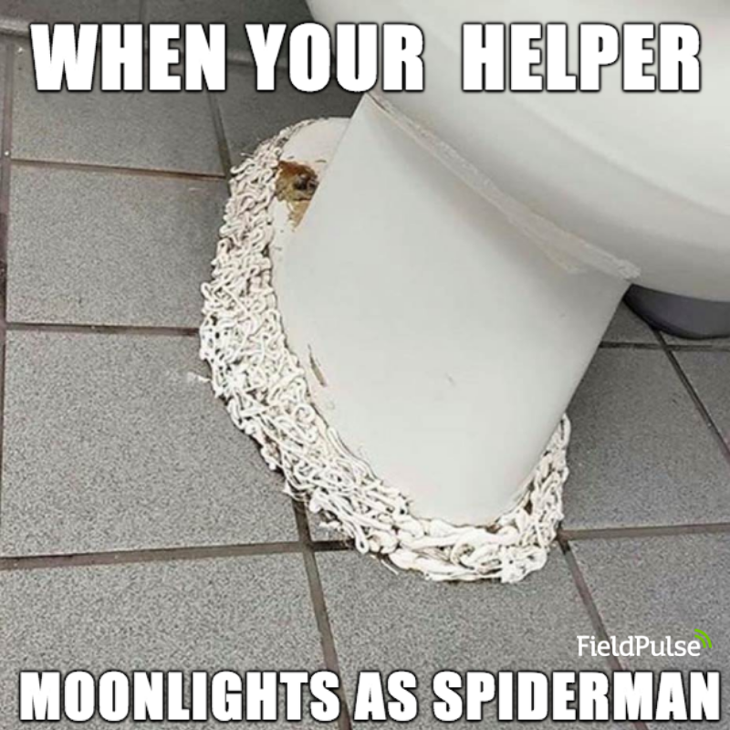 Plumbing Meme: When your helper moonlights as spider-man