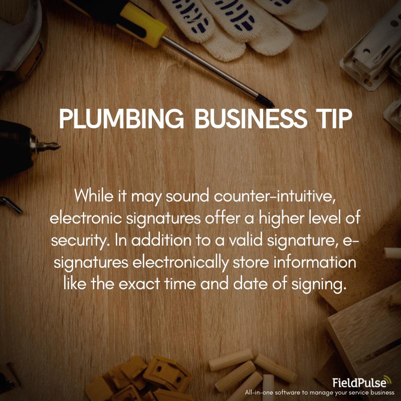 Plumbing Business Tip Esignatures
