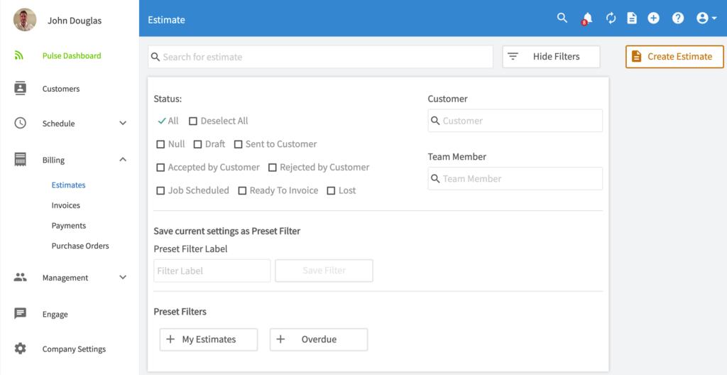 FieldPulse | New Filter Overview Estimates