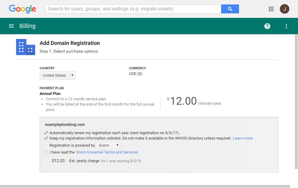 Google Domain After Registration