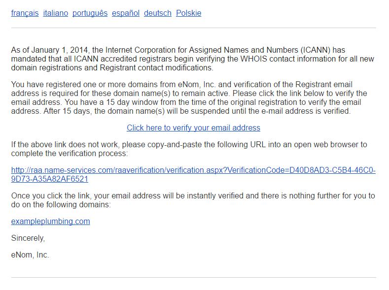 Domain Registration Email