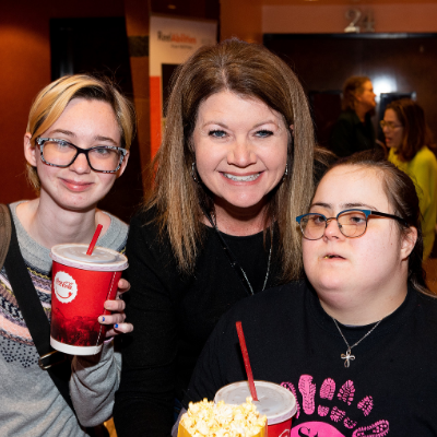 Festival attendees with and without disabilities after a film event