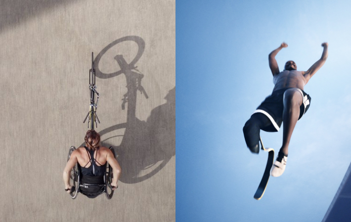 Two film stills from Rising Phoenix show Paralympic athletes demonstrating their skills on a hand bicycle and high jump