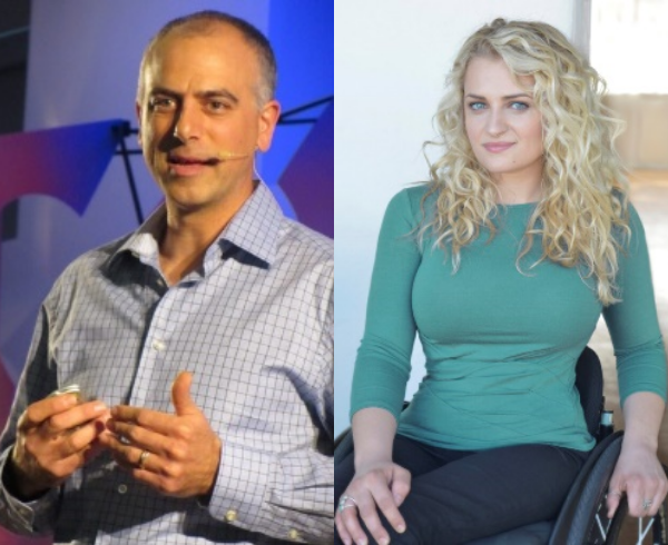 A collage featuring Dan Habib speaking at an event and a headshot of Ali Stroker