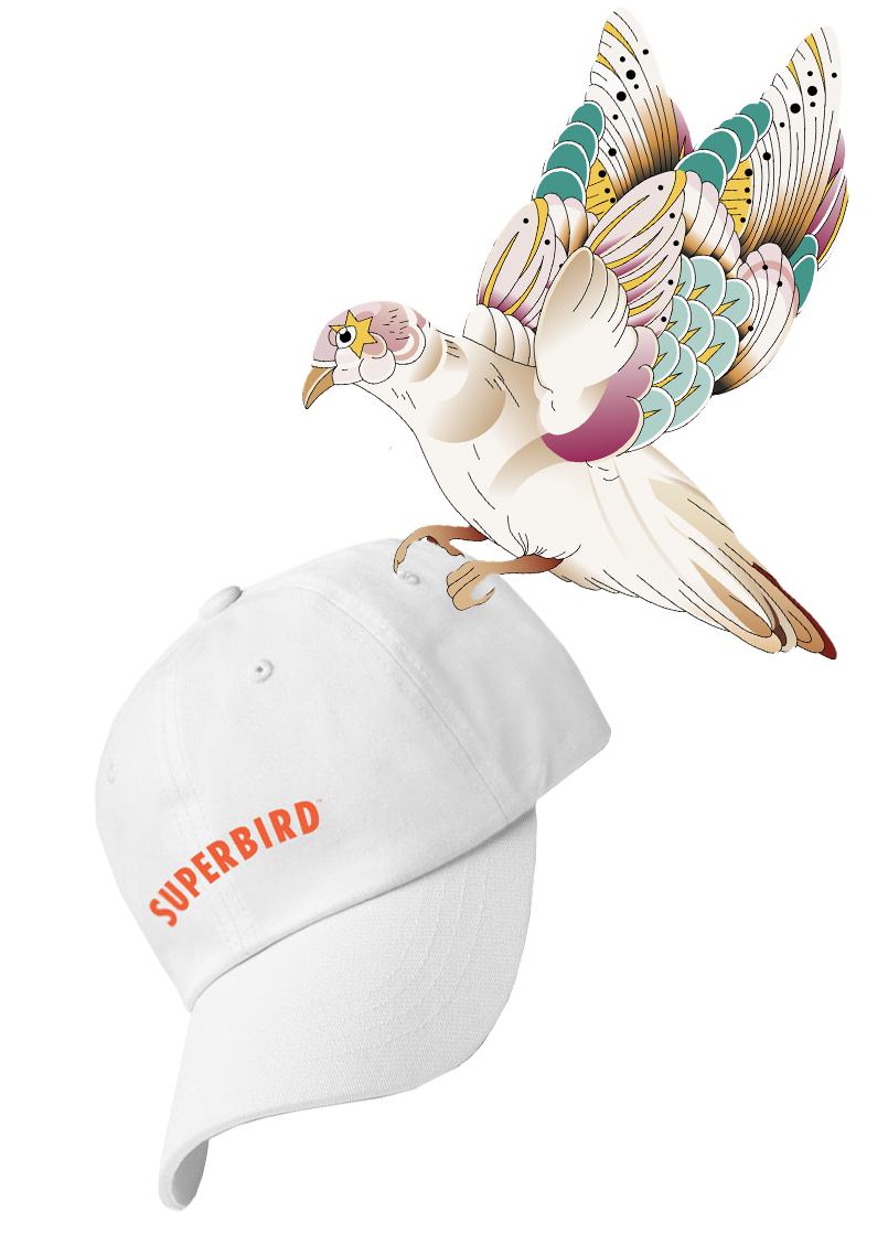 Illustrated bird flying with an embroidered Superbird cap.