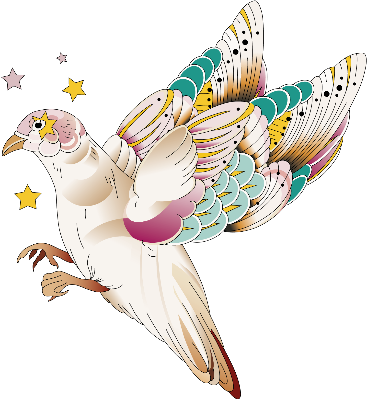 An illustrated Paloma dove in flight