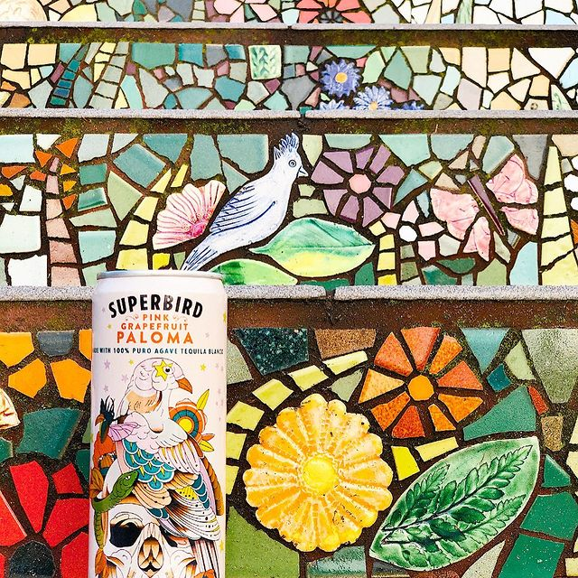 A can of Superbird Paloma resting on some mosaic steps.
