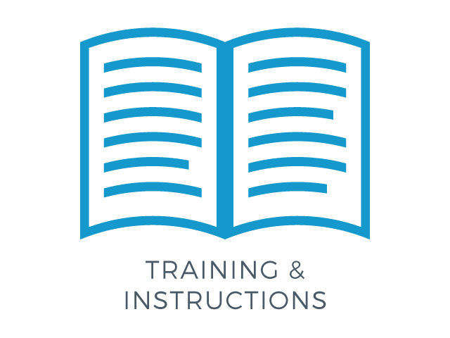 illustration of an open book icon with the words training & instructions
