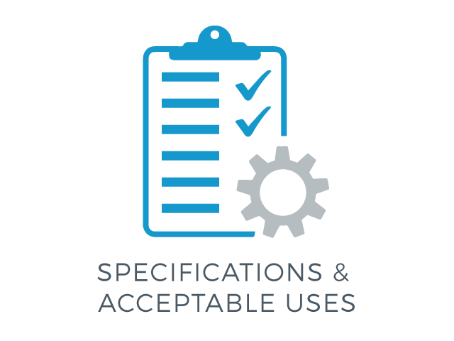 illustration of a checklist & settings icon with the words specifications & acceptable uses