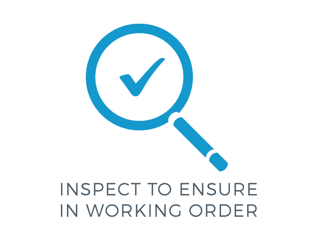 illustration of a magnifying glass & checkmark icon with the words inspect to be sure in working order