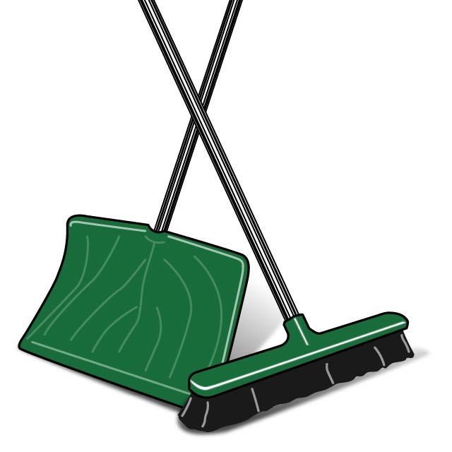 Illustration of a shovel and a broom with thick bristles