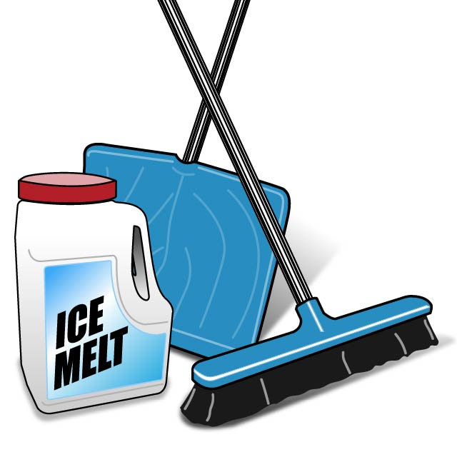 Illustration of ice-melt, a shovel and a broom with thick bristles