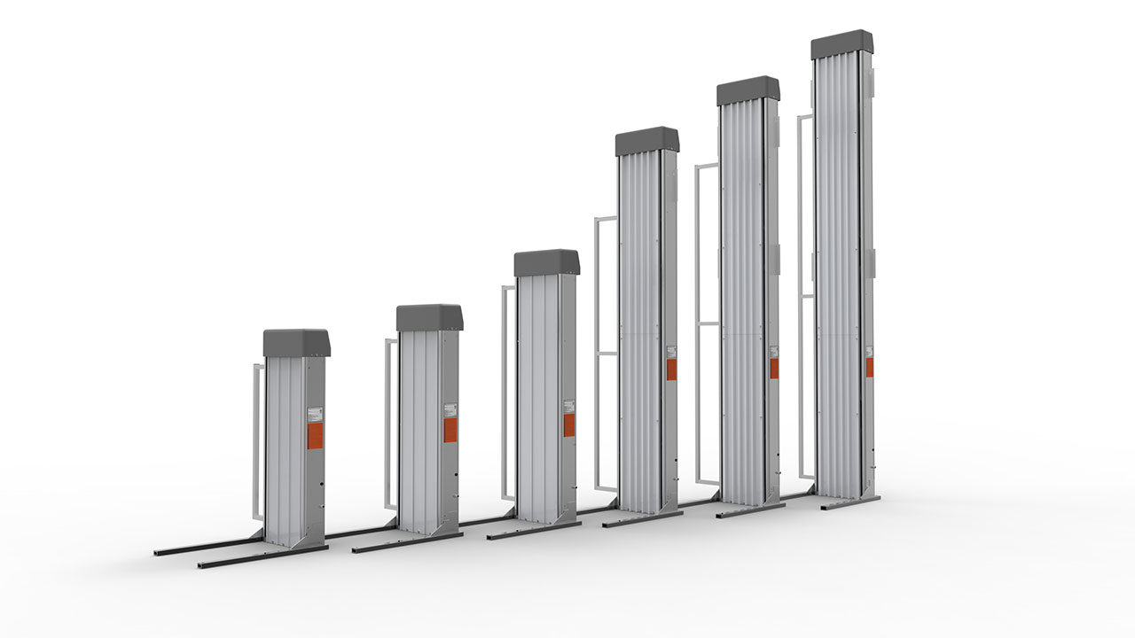 rendering of the various heights available for the PASSPORT Vertical Platform Lift
