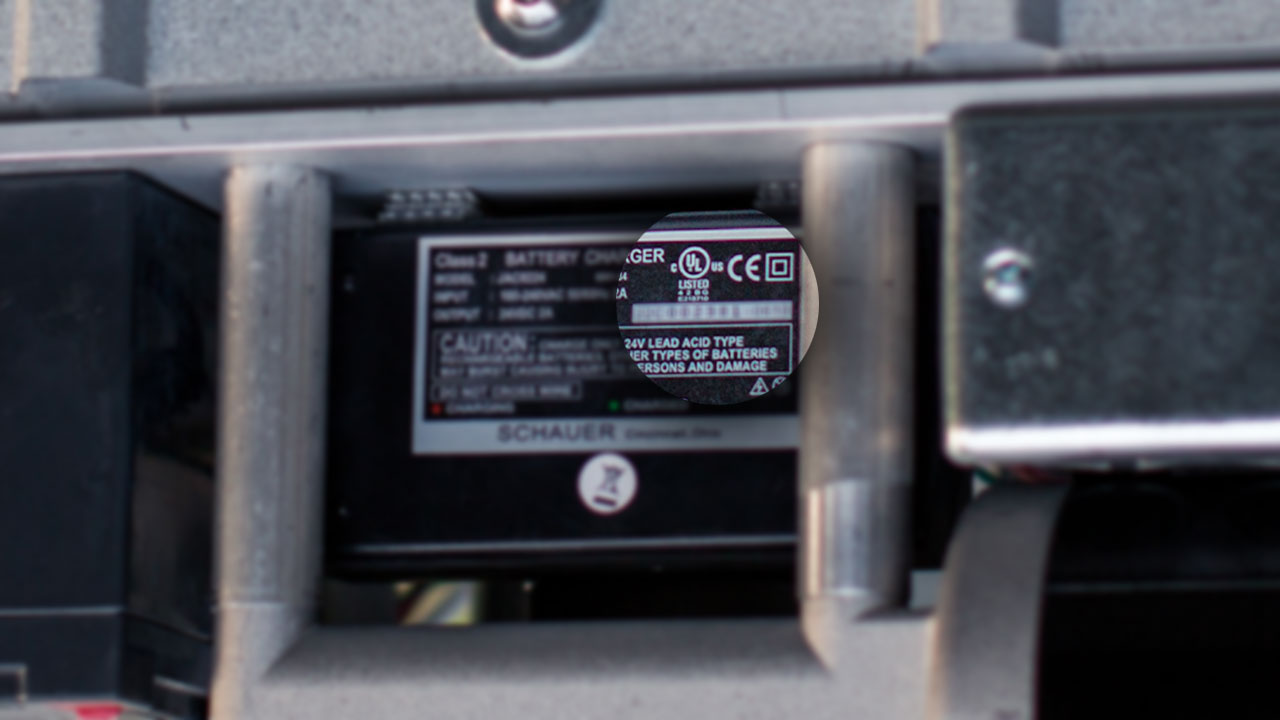 Close-up shot of the ETL Certification mark on the PASSPORT Vertical Platform Lift