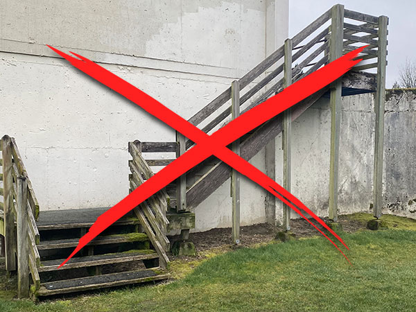 example of weathered wood emergency stairs
