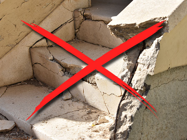 example of concrete emergency stairs crumbling