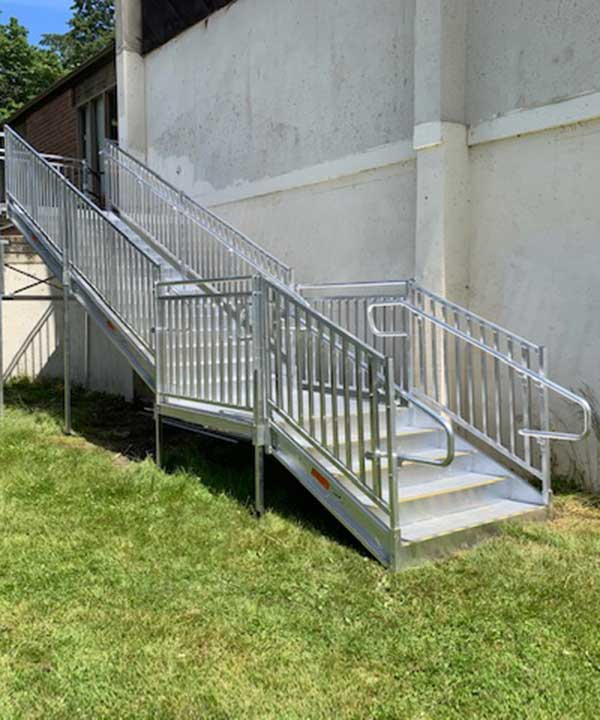 front view of new aluminum TITAN stair replacement solution at a local school