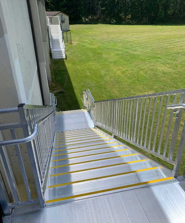 top down view of new aluminum TITAN stair replacement solution at a local school