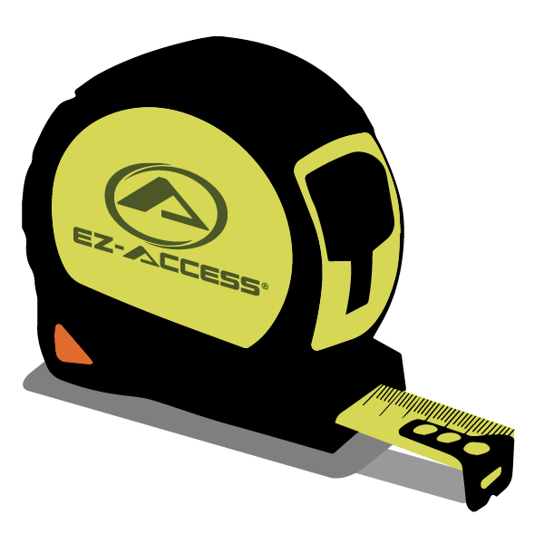 illustration of a tape measure with the EZ-ACCESS logo on the side