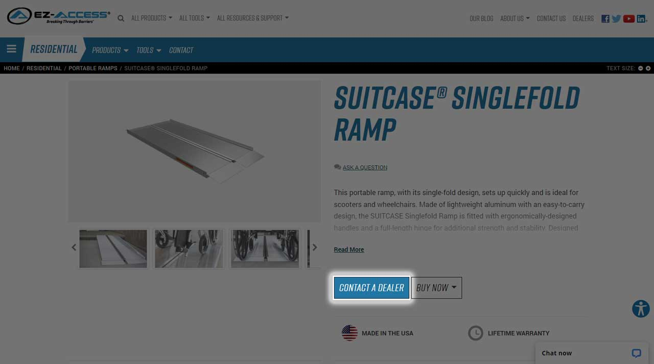 Screen grab of a product page Contact a Dealer button highlighted