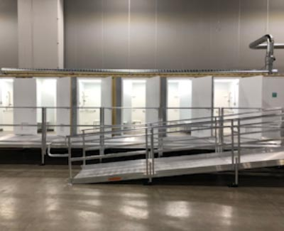 Ramp system for temporary hospital rooms