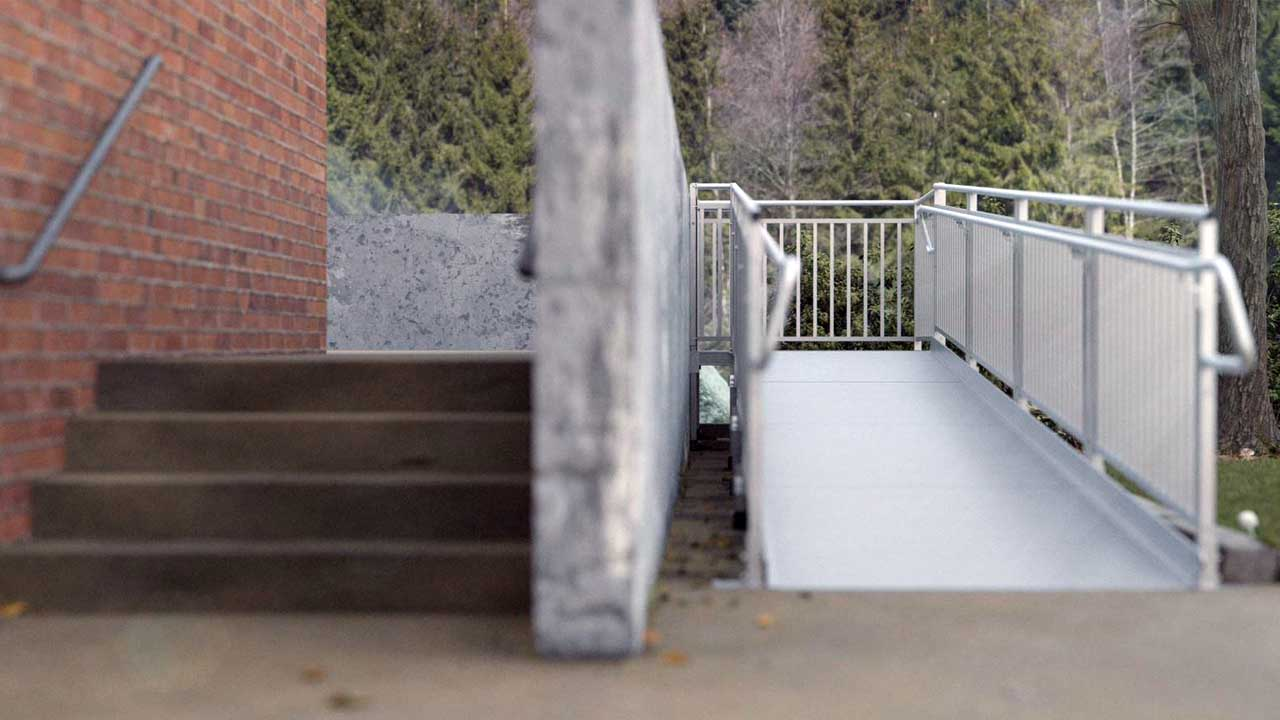 rendering of a TITAN ramp next to concrete stairs