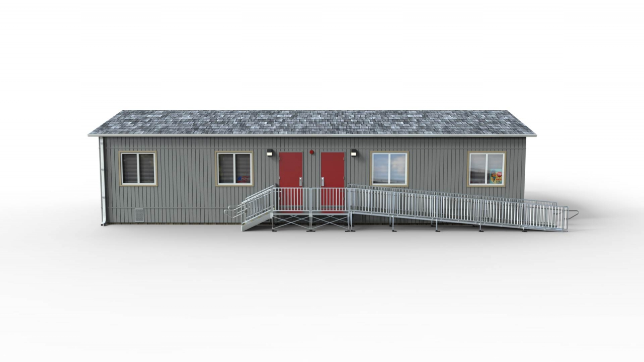 """TITANâ""""¢ Code Compliant Modular Access System with a platform at the door, ramp on one side and stairs on the other product image"""