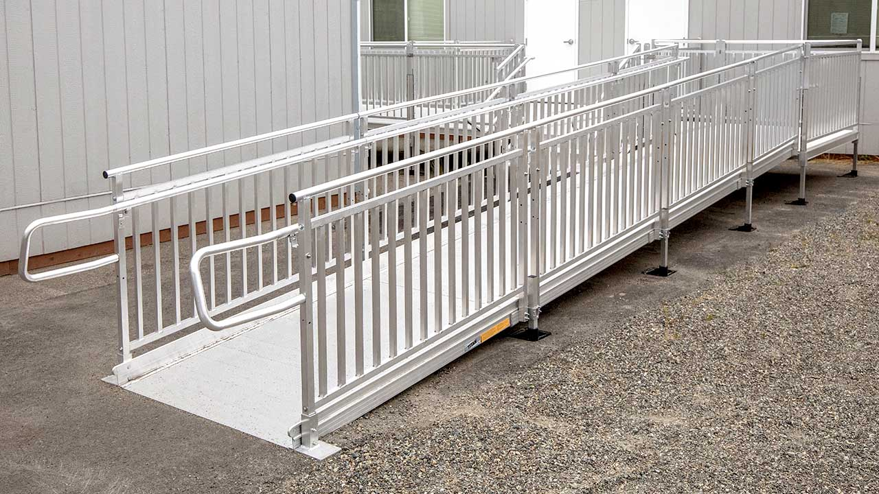 TITAN ramp solution with picketed guards for added safety