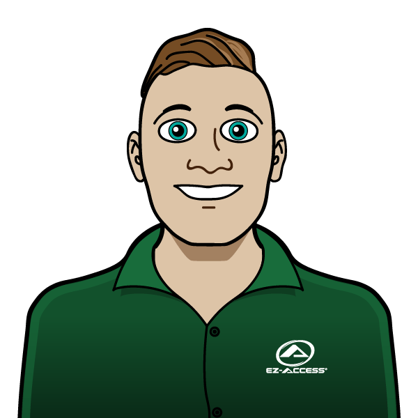 illustration of a customer service rep wearing an EZ-ACCESS shirt