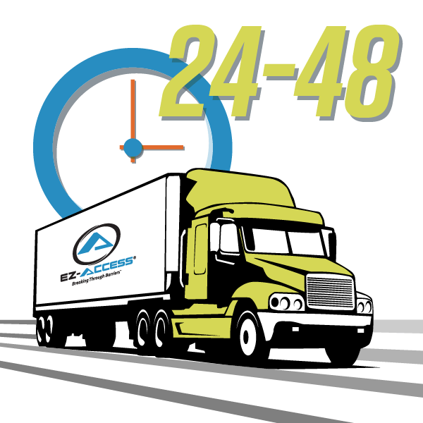 illustration of a clock and tractor trailer with the EZ-ACCESS logo on the side