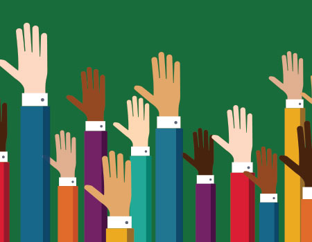 illustration of hands being raised in front of green background