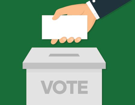 illustration of hand placing ballot in voting box