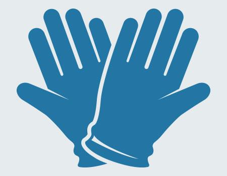 illustration of blue gloves