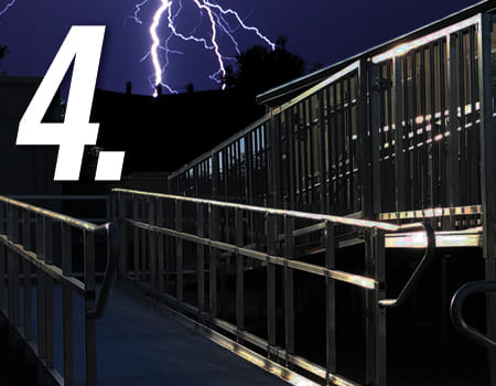 ez access ramp with lightning in background