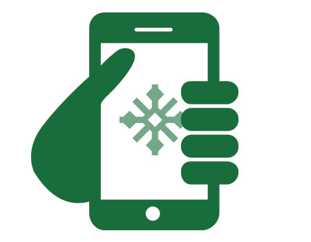 mobile phone icon with snowflake on screen