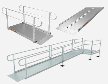 three different styles of semi-permanent and portable ramps