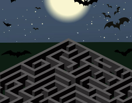 outdoor maze under full moon with bats flying around