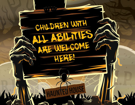 spooky sign for haunted house saying