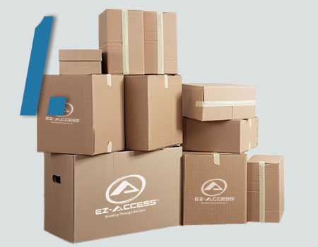 stack of boxes with EZ-ACCESS logo