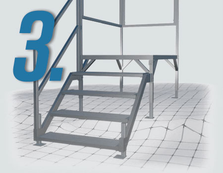FORTRESS® OSHA Stair System displaying the height and leveling capabilites