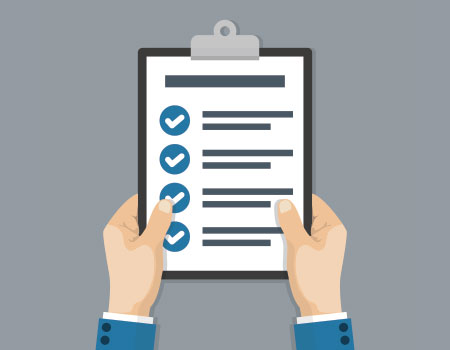 vector graphic of checkmarked list on a clipboard with someone handing it out with a solid background
