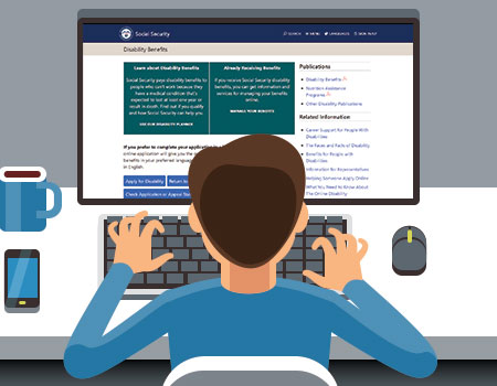 vector graphic of person online at desk looking at social security application website