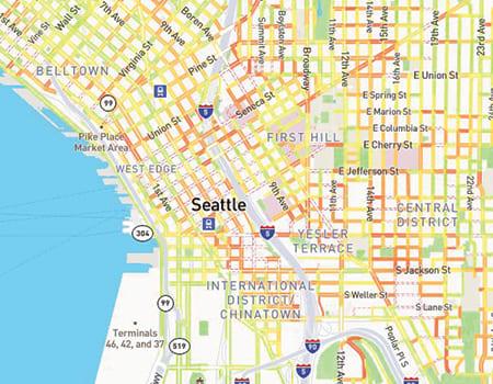 screenshot of seattle sidewalk map