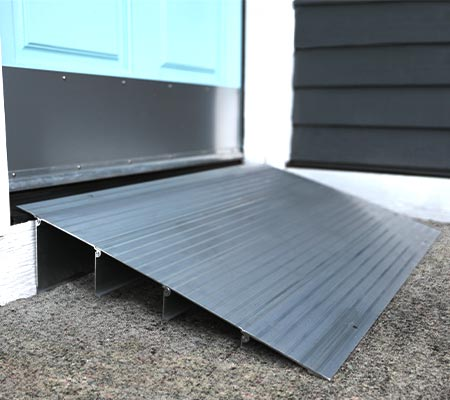 Modular entry ramp leading into front door of home